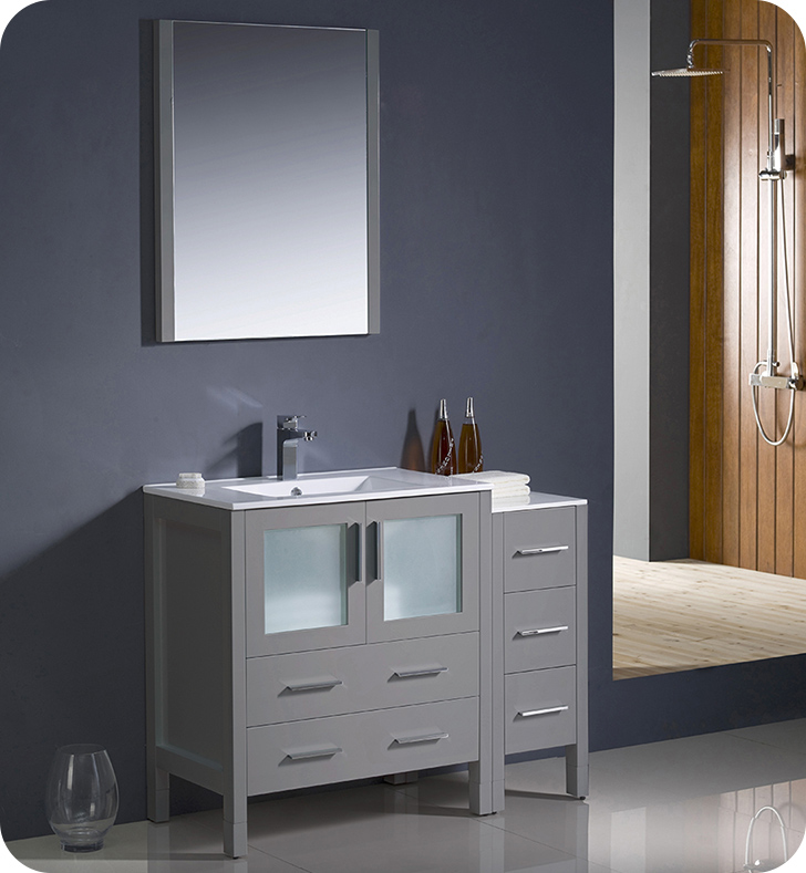 "Fresca Torino 42"" Gray Modern Bathroom Vanity with Faucet and Linen Side Cabinet Option"