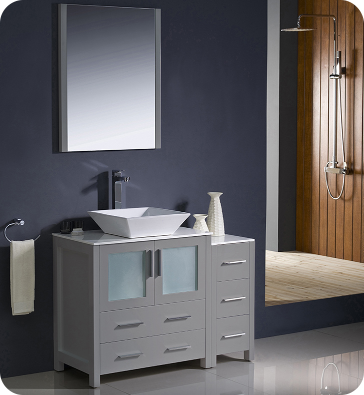 "Fresca Torino 42"" Gray Modern Bathroom Vanity Vessel Sink with Faucet and Linen Side Cabinet Option"