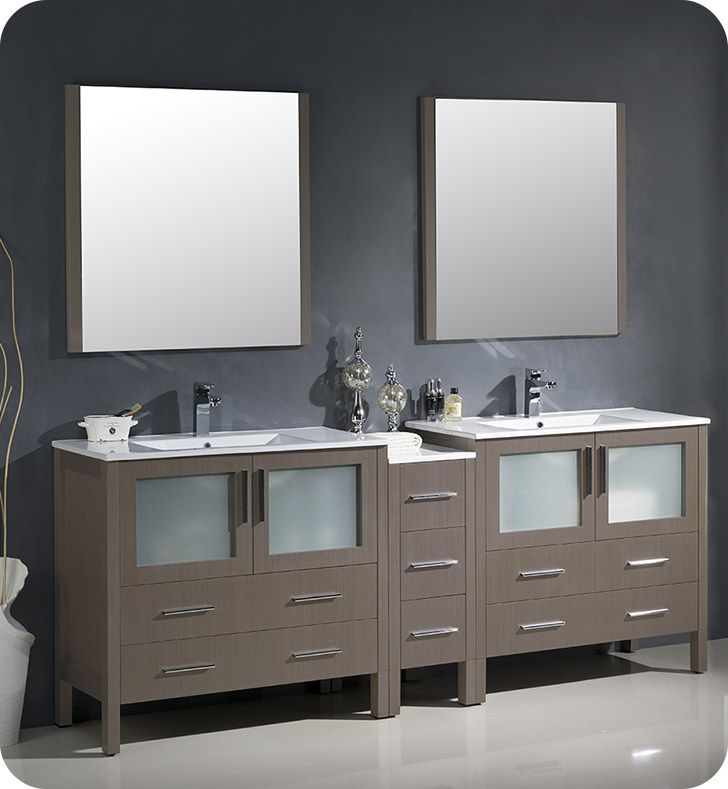 "84"" Gray Oak Modern Double Sink Bathroom Vanity with Faucet and Linen Side Cabinet Option"