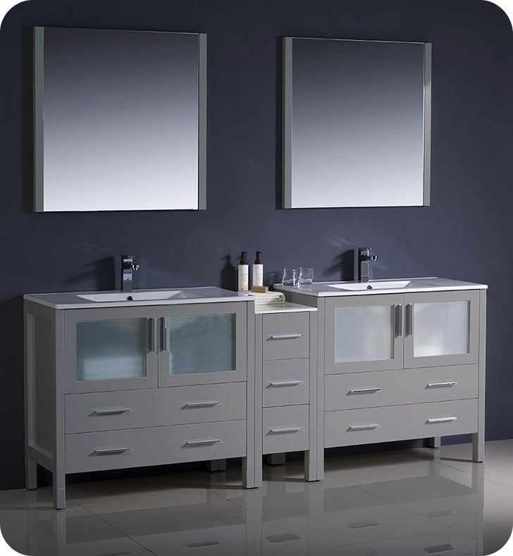 "Fresca Torino 84"" Gray Modern Double Sink Bathroom Vanity with Faucet and Linen Side Cabinet Option"