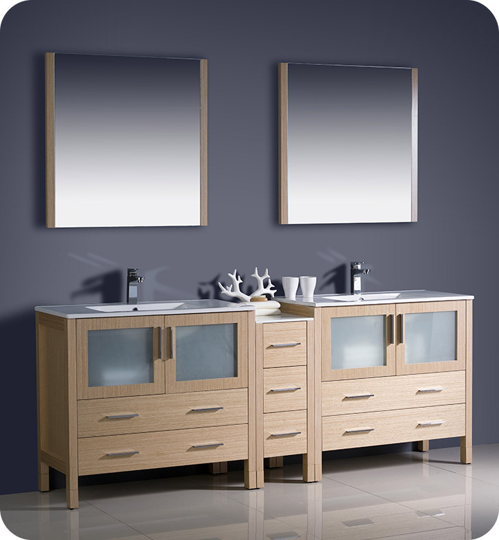 "Fresca Torino 84"" Light Oak Modern Double Sink Bathroom Vanity with Faucet and Linen Side Cabinet Option"