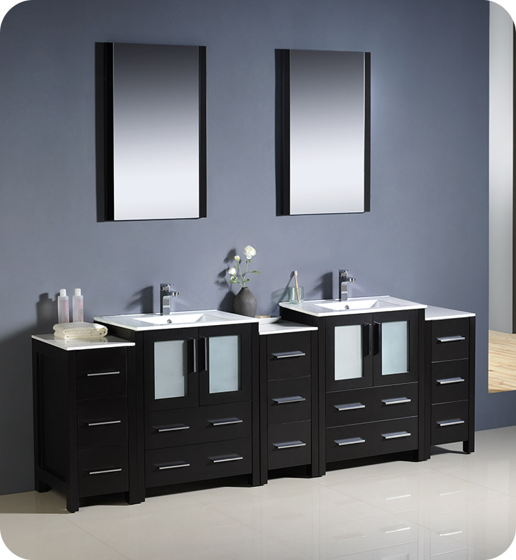 "Fresca Torino 84"" Modern Double Sink Bathroom Vanity with Color, Faucet and Linen Side Cabinet Option"
