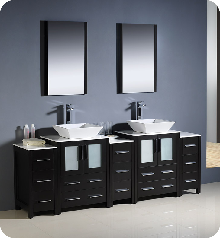 "84"" Modern Double Sink Bathroom Vanity Vessel Sinks with Color, Faucet and Linen Side Cabinet Option"