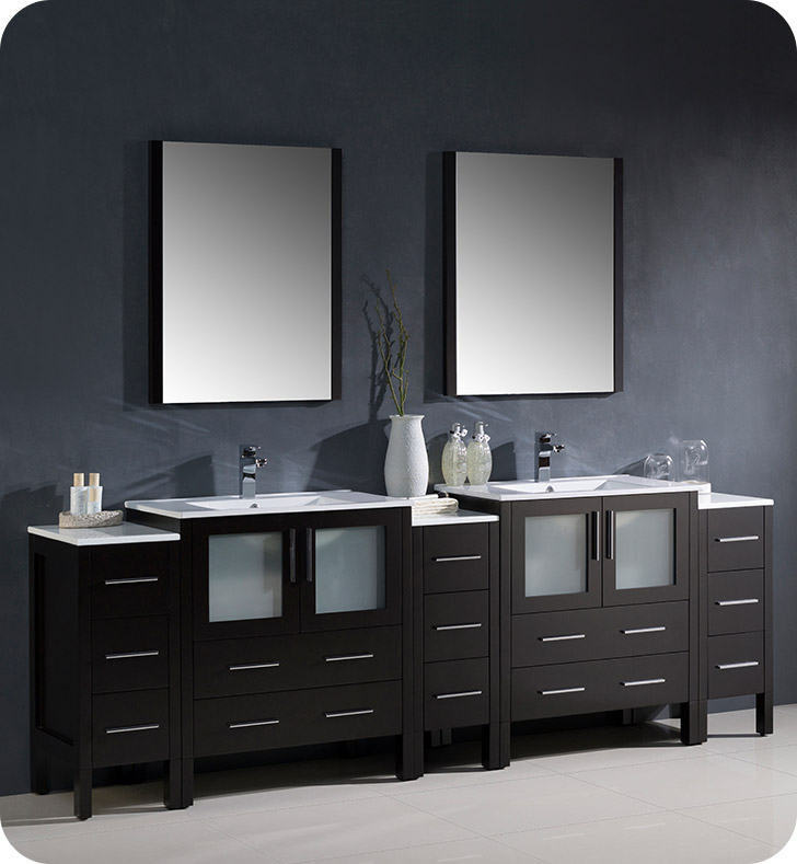 "Fresca Torino 96"" Modern Double Sink Bathroom Vanity with Color, Faucet and Linen Side Cabinet Option"