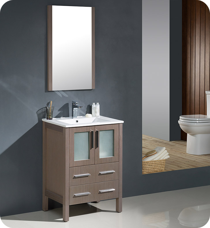 "Fresca Torino 24"" Gray Oak Modern Bathroom Vanity with Faucet and Linen Side Cabinet Option"