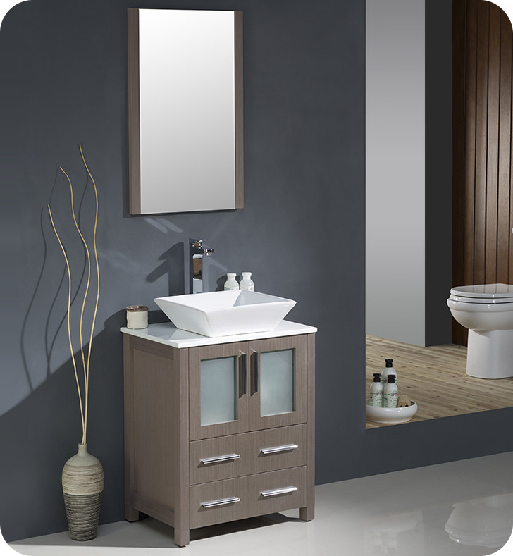 "24"" Gray Oak Modern Bathroom Vanity Vessel Sink with Faucet and Linen Side Cabinet Option"