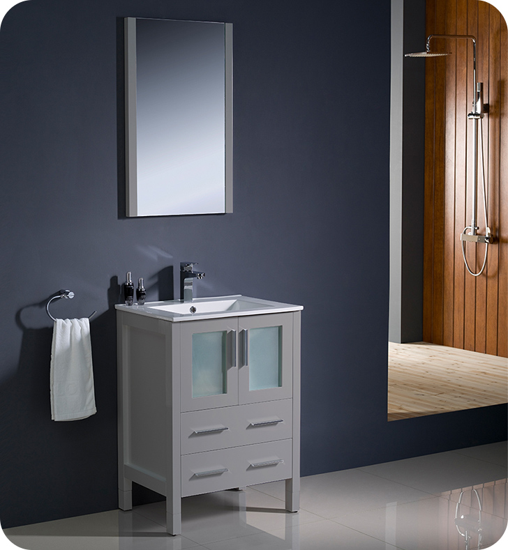 "Fresca Torino 24"" Gray Modern Bathroom Vanity with Faucet and Linen Side Cabinet Option"