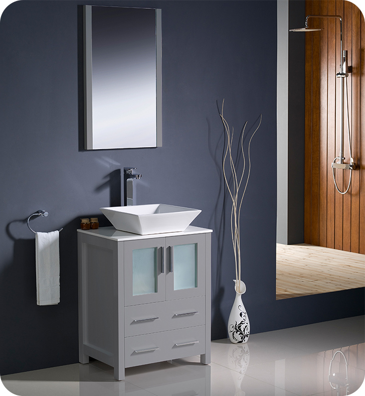 "24"" Gray Modern Bathroom Vanity Vessel Sink with Faucet and Linen Side Cabinet Option"