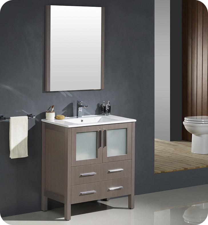 "30"" Gray Oak Modern Bathroom Vanity with Faucet and Linen Side Cabinet Option"