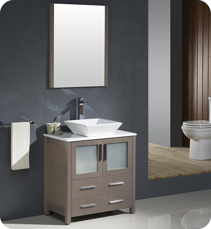 "Fresca Torino 30"" Gray Oak Modern Bathroom Vanity Vessel Sink with Faucet and Linen Side Cabinet Option"