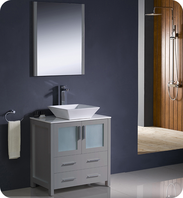 "Fresca Torino 30"" Gray Modern Bathroom Vanity Vessel Sink with Faucet and Linen Side Cabinet Option"