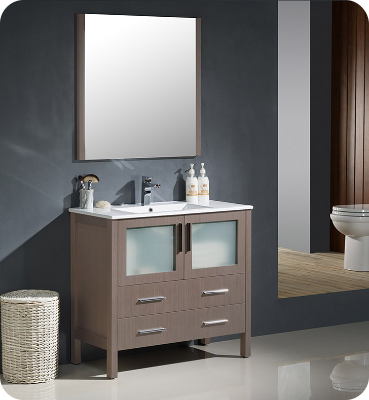 """36"""" Gray Oak Modern Bathroom Vanity with Faucet and Linen Side Cabinet Option"""