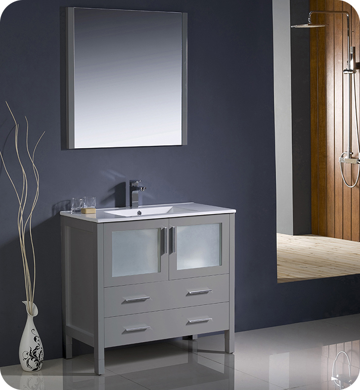 "Fresca Torino 36"" Gray Modern Bathroom Vanity with Faucet and Linen Side Cabinet Option"