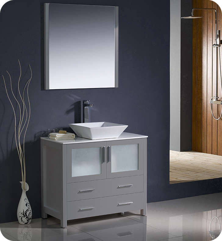 "Fresca Torino 36"" Gray Modern Bathroom Vanity Vessel Sink with Faucet and Linen Side Cabinet Option"