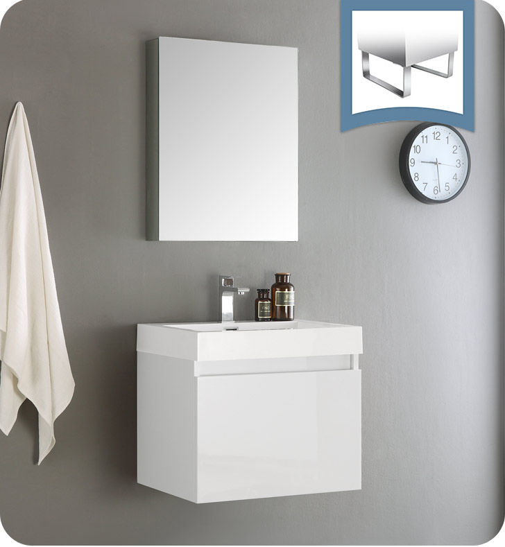 "24"" White Modern Bathroom Vanity with Faucet, Medicine Cabinet and Linen Side Cabinet Option"