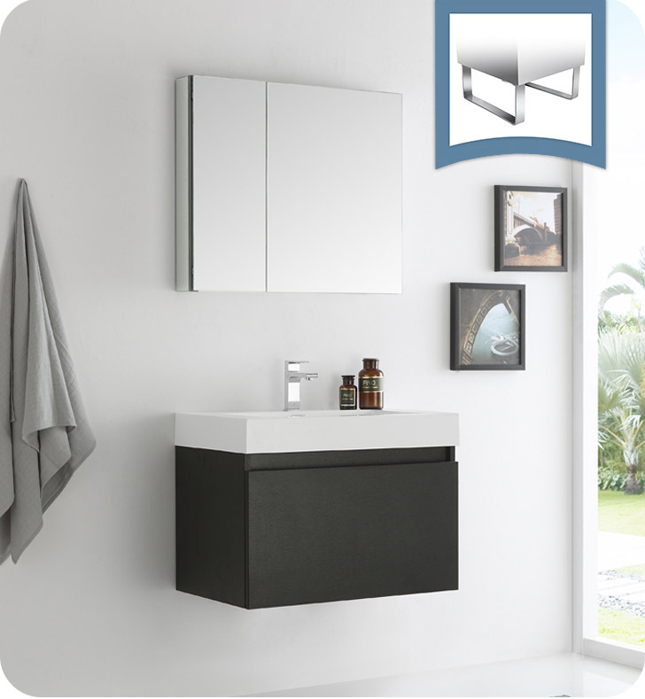 "30"" Black Wall Hung Modern Bathroom Vanity with Faucet, Medicine Cabinet and Linen Side Cabinet Options"