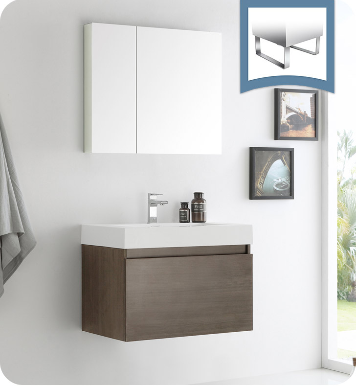 "Fresca Mezzo 30"" Gray Oak Wall Hung Modern Bathroom Vanity with Faucet, Medicine Cabinet and Linen Side Cabinet Option"