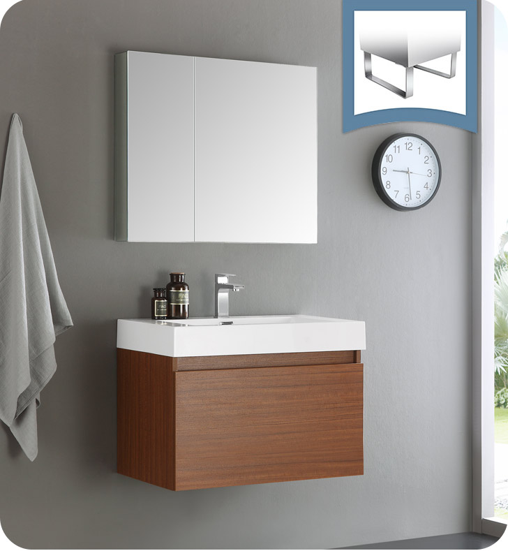 "30"" Teak Wall Hung Modern Bathroom Vanity with Faucet, Medicine Cabinet and Linen Side Cabinet Options"