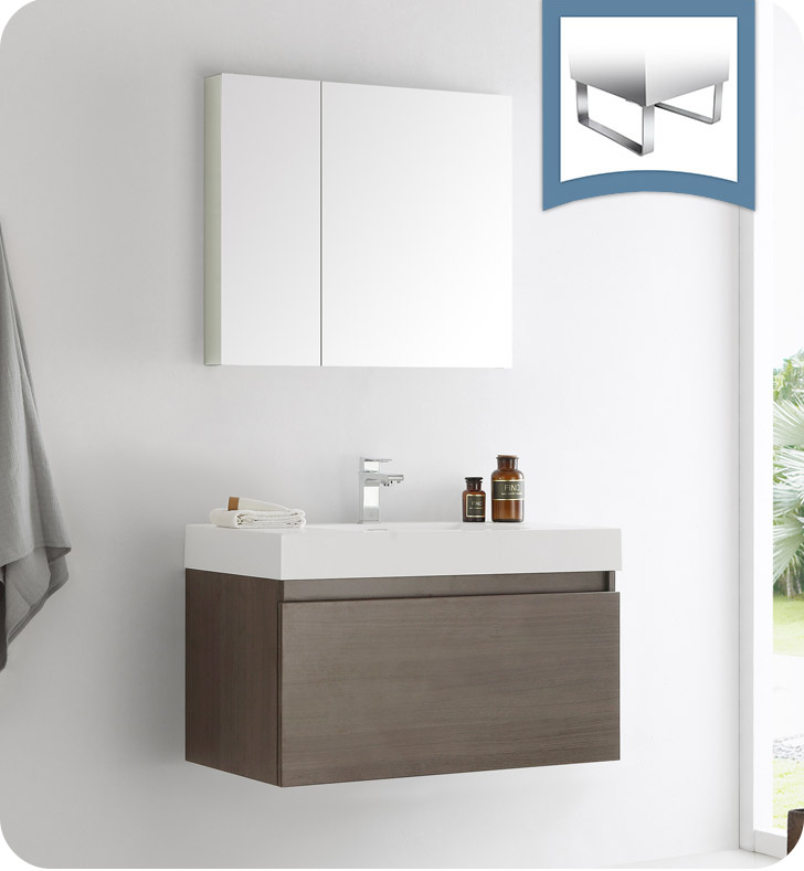 "Fresca Mezzo 36"" Gray Oak Wall Hung Modern Bathroom Vanity with Faucet. Medicine Cabinet and Linen Side Cabinet Option"