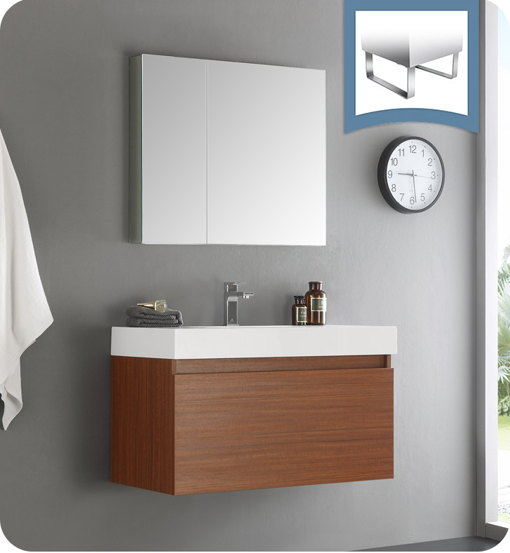 "36"" Teak Wall Hung Modern Bathroom Vanity with Faucet, Medicine Cabinet and Linen Side Cabinet Option"
