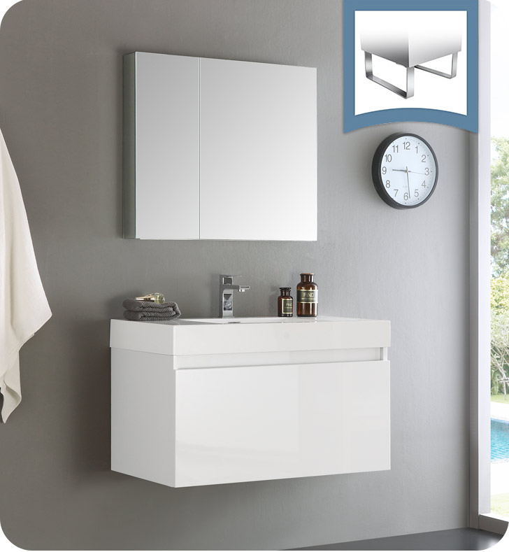 "36"" White Wall Hung Modern Bathroom Vanity with Faucet, Medicine Cabinet and Linen Side Cabinet Option"