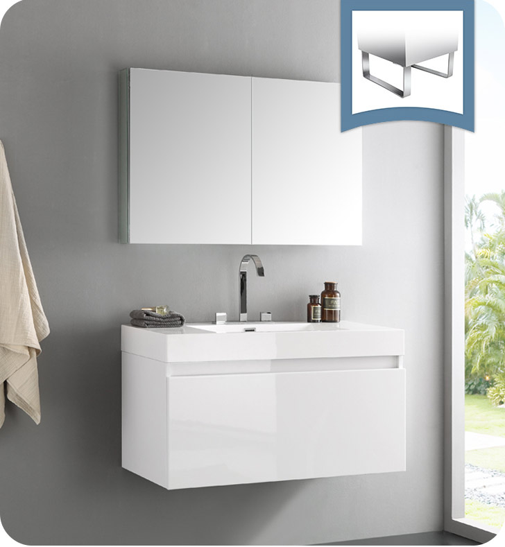 "39"" White Modern Bathroom Vanity with Faucet, Medicine Cabinet and Linen Side Cabinet Option"