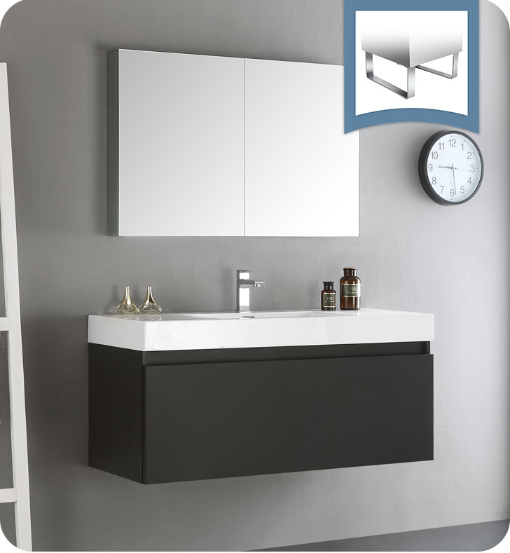 "48"" Black Wall Hung Modern Bathroom Vanity with Faucet, Medicine Cabinet and Linen Side Cabinet Options"