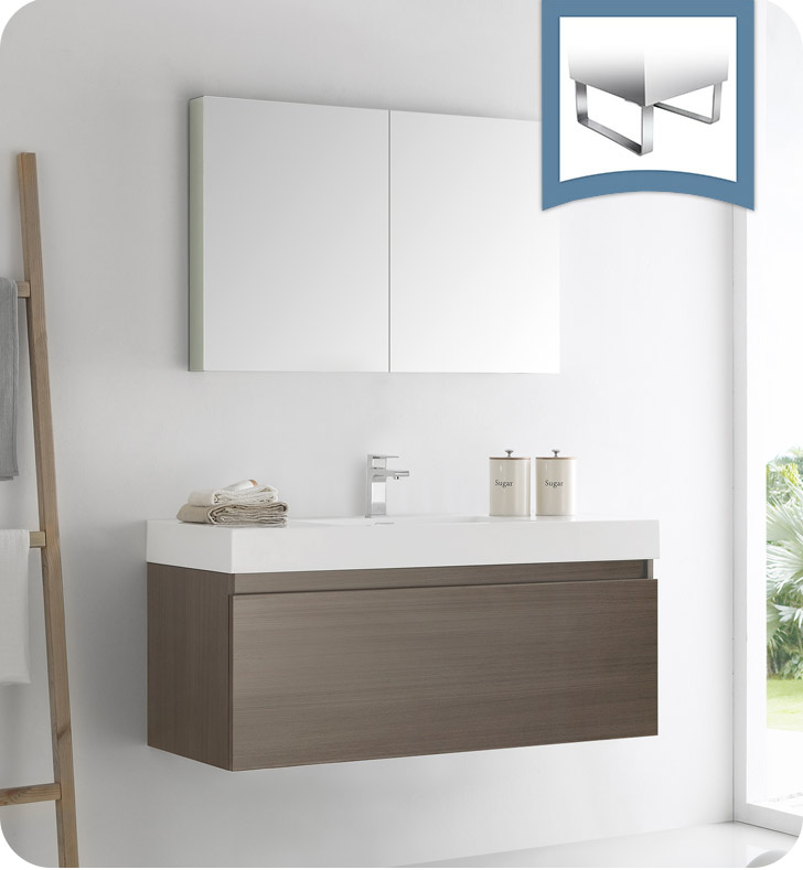 "Fresca Mezzo 48"" Gray Oak Wall Hung Modern Bathroom Vanity with Faucet, Medicine Cabinet and Linen Side Cabinet Option"