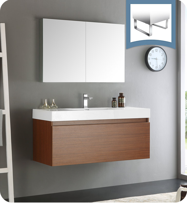 "Fresca Mezzo 48"" Teak Wall Hung Modern Bathroom Vanity with Faucet, Medicine Cabinet and Linen Side Cabinet Option"