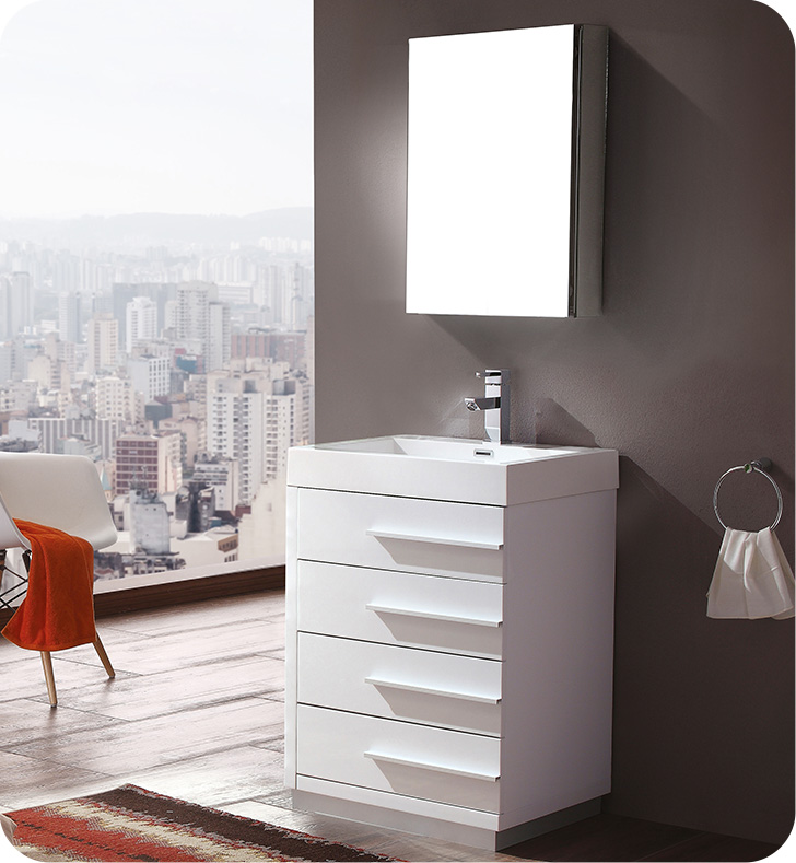 "Fresca Livello 24"" White Modern Bathroom Vanity with Faucet, Medicine Cabinet and Linen Side Cabinet Option"