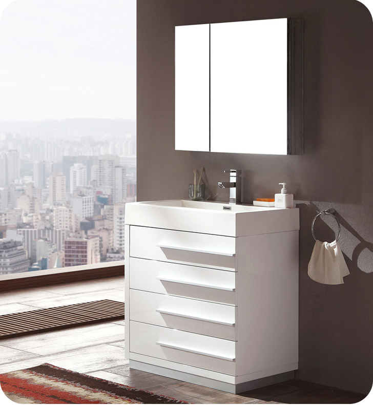 "Fresca Livello 30"" White Modern Bathroom Vanity with Faucet, Medicine Cabinet and Linen Side Cabinet Option"