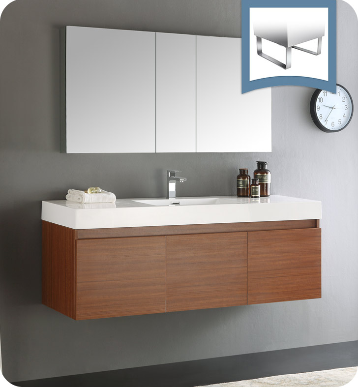 "60"" Teak Wall Hung Single Sink Modern Bathroom Vanity with Faucet, Medicine Cabinet and Linen Side Cabinet Option"