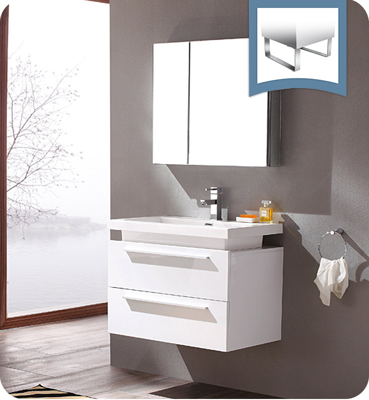 "Fresca Medio 32"" White Modern Bathroom Vanity with Faucet, Medicine Cabinet and Linen Side Cabinet Option"