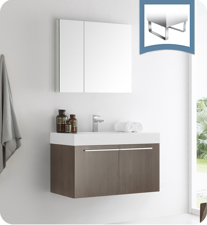 "Fresca Vista 36"" Gray Oak Modern Bathroom Vanity with Faucet, Medicine Cabinet and Linen Side Cabinet Option"