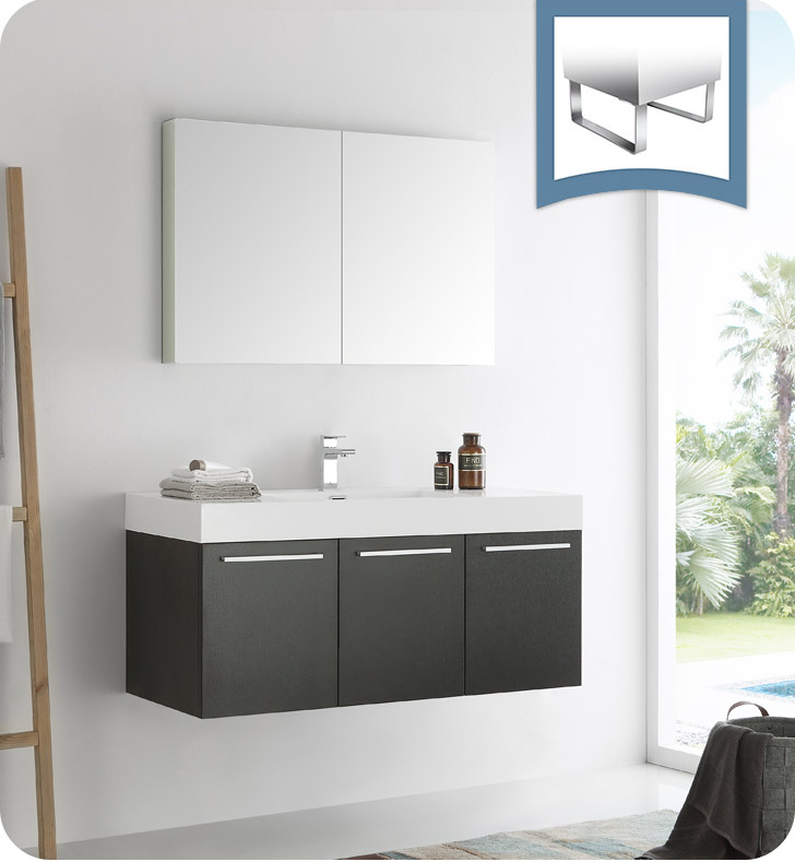 "Fresca Vista 48"" Black Wall Hung Modern Bathroom Vanity with Faucet, Medicine Cabinet and Linen Side Cabinet Option"