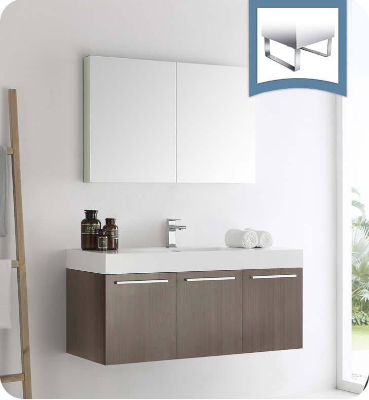 "Fresca Vista 48"" Gray Oak Wall Hung Modern Bathroom Vanity with Faucet, Medicine Cabinet and Linen Side Cabinet Option"