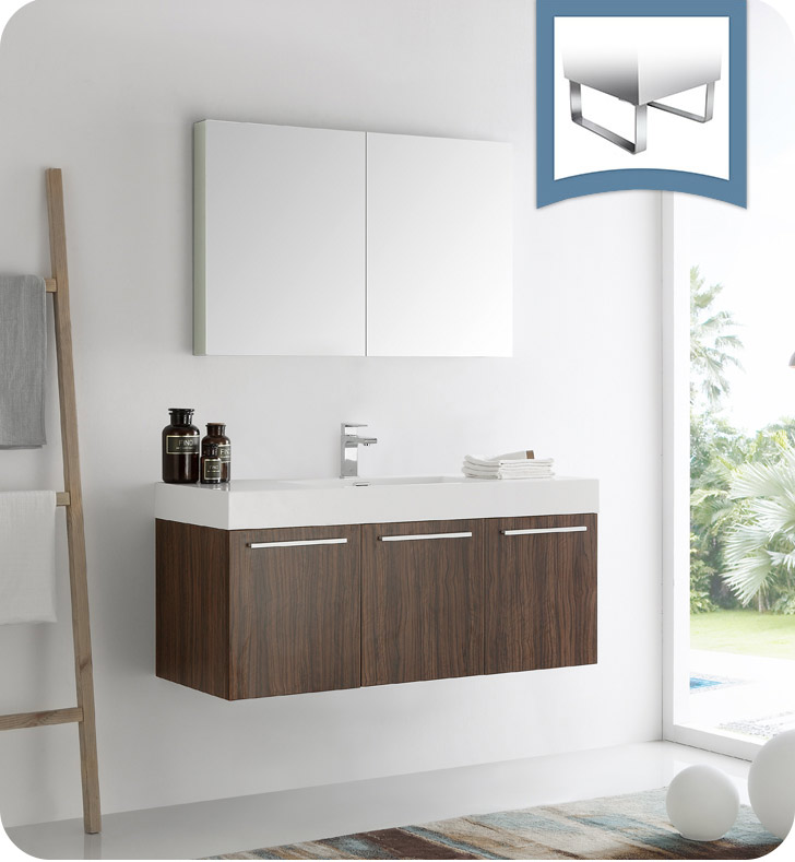 "Fresca Vista 48"" Walnut Wall Hung Modern Bathroom Vanity with Faucet, Medicine Cabinet and Linen Side Cabinet Option"