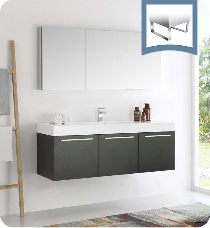 "Fresca Vista 60"" Black Wall Hung Modern Bathroom Vanity with Faucet, Medicine Cabinet and Linen Side Cabinet Option"