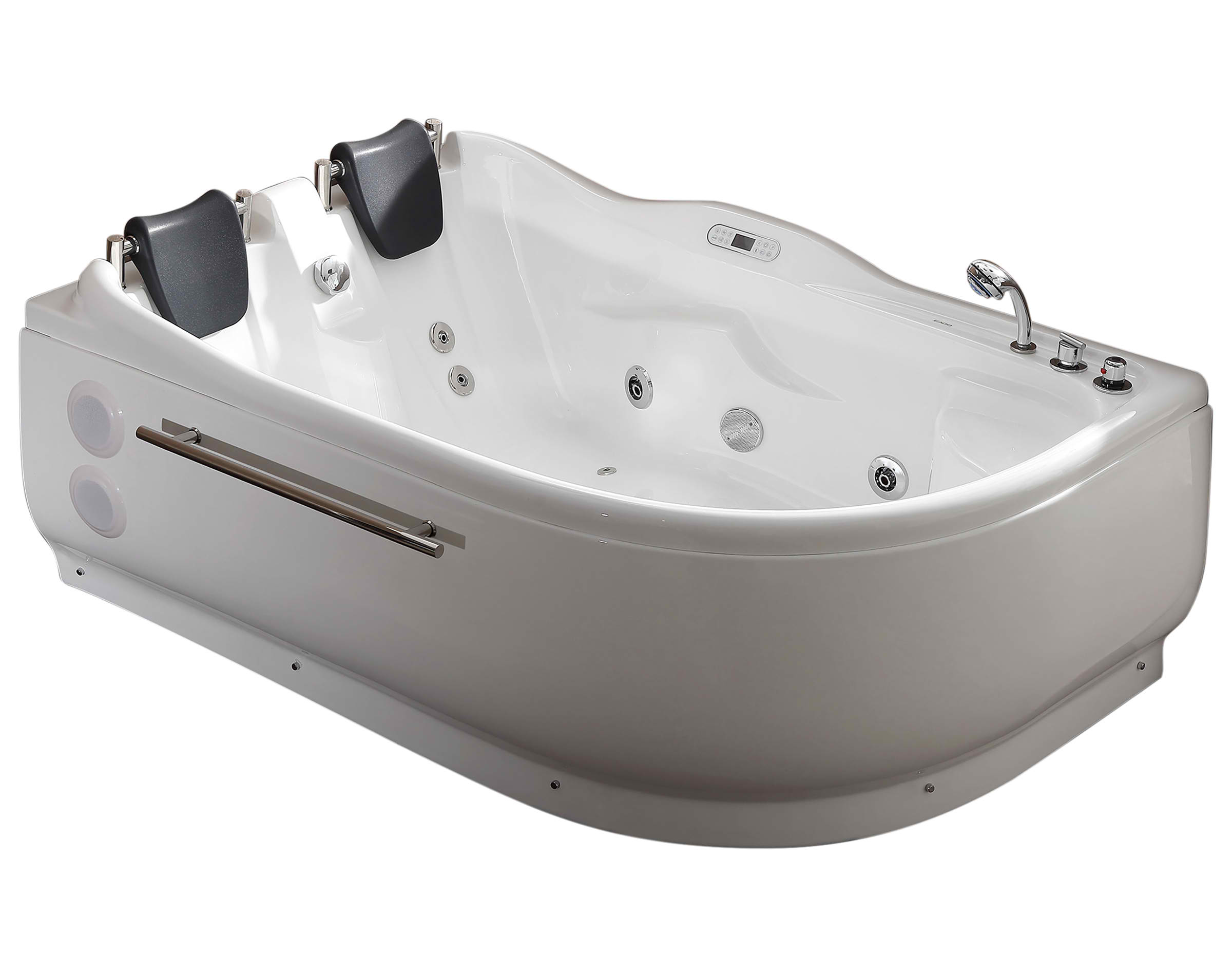 EAGO AM124ETL 6 ft Left or Right Corner Acrylic White Whirlpool Bathtub for Two