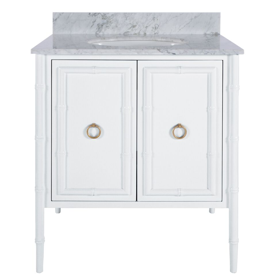 "30.5"" Isaac Edwards Collection White Lacquer Bath Vanity Bamboo Detailing with Backsplash & Hardware Option"