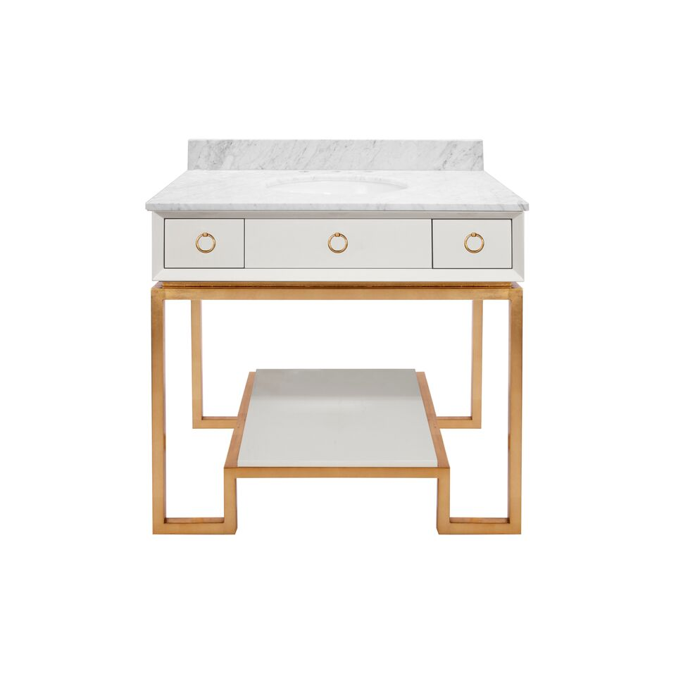 "36.5"" Isaac Edwards Collection White Lacquer Bath Vanity Base 2 Drawers with Backsplash and Hardware Option"