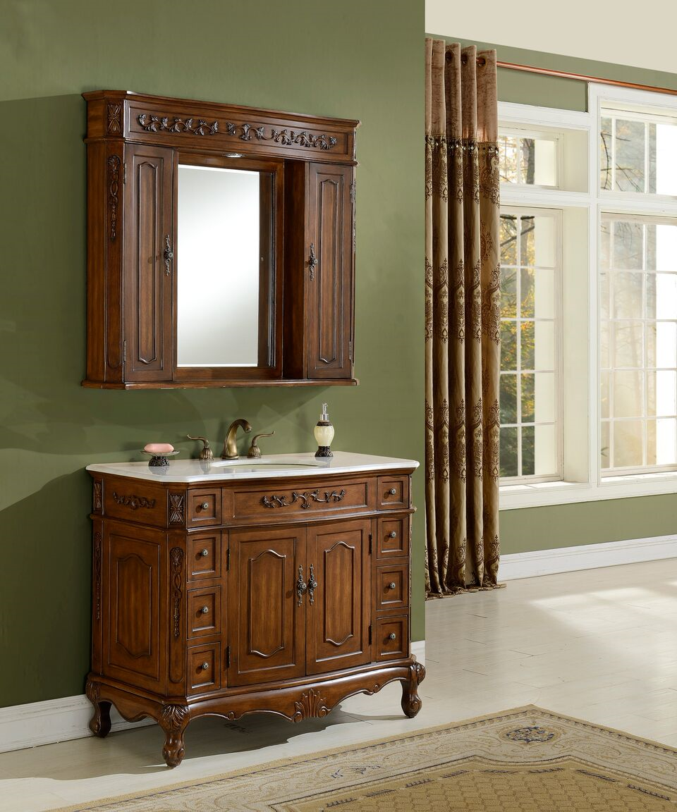 "42"" Antique Deep Chestnut Finish Vanity with Mirror, Med Cab, and Linen Cabinet Options"