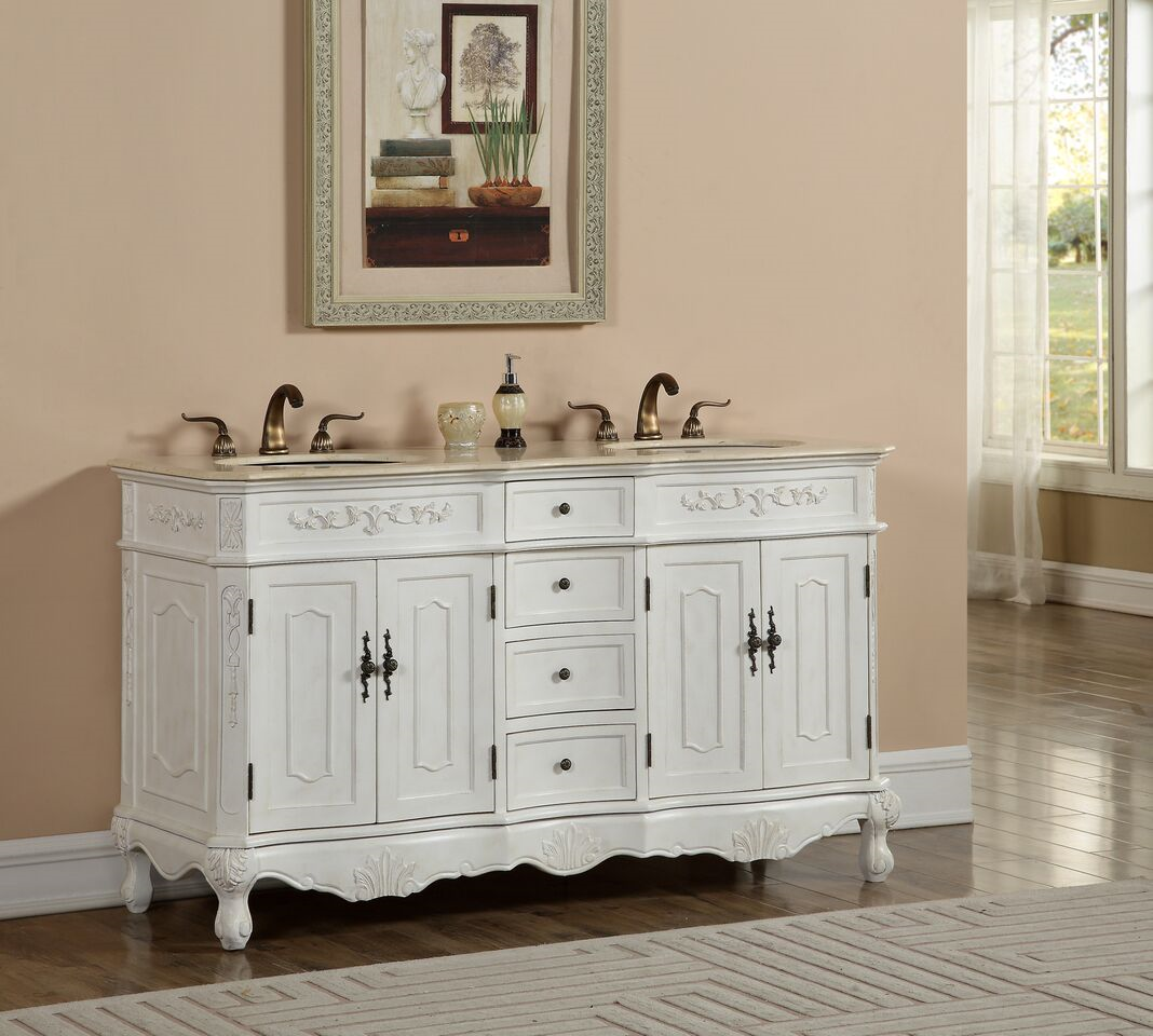 "60"" Double Antique White Bathroom Vanity with Cream Marble Top"