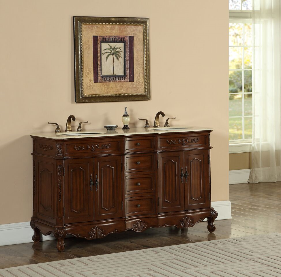 "60"" Double Deep Chestnut Finish Bathroom Vanity with Cream Marble Top"