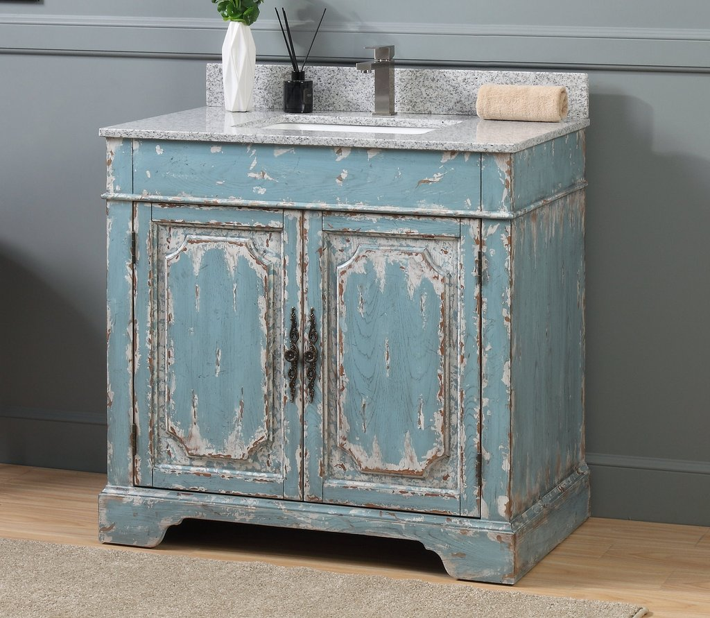 "Adelina 36"" Benton Collection Litchfield Distressed Rustic Light Blue Beach Style Bathroom Vanity"