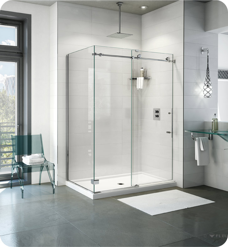 Fleurco Kinetik 2-Sided In-Line 60 Shower Door and Fixed Panel with Return Panel (Closes Against Wall)