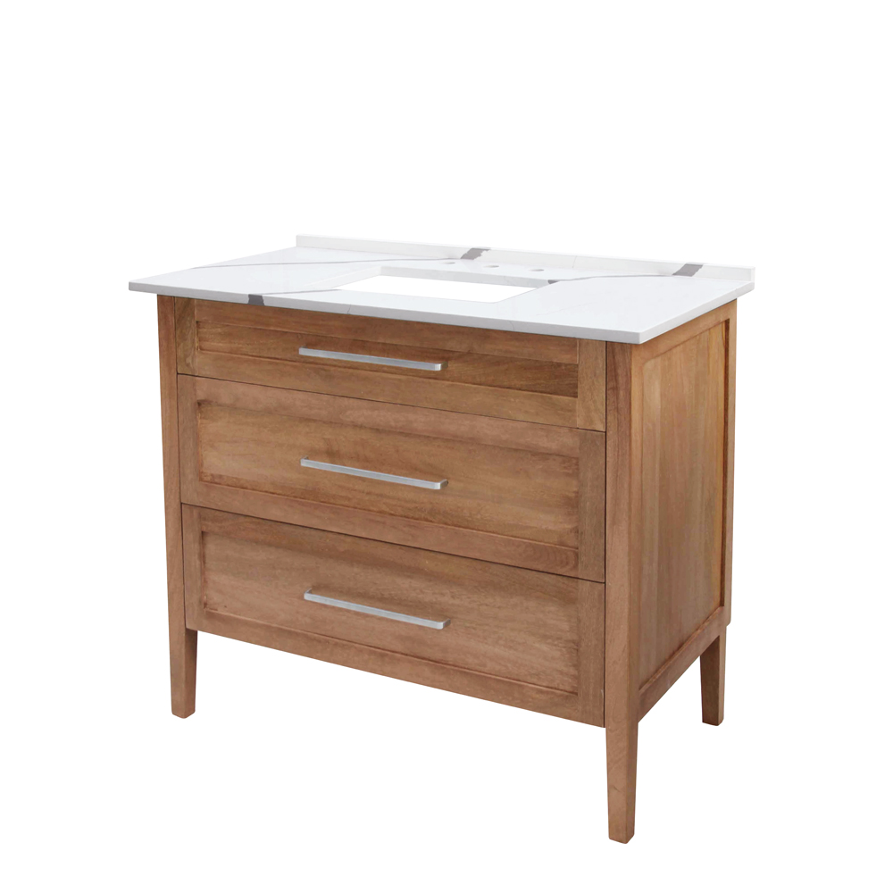 "42"" Single Sink Vanity White with Distinctive Grey Veining Top with Mango Wood Light Finish"