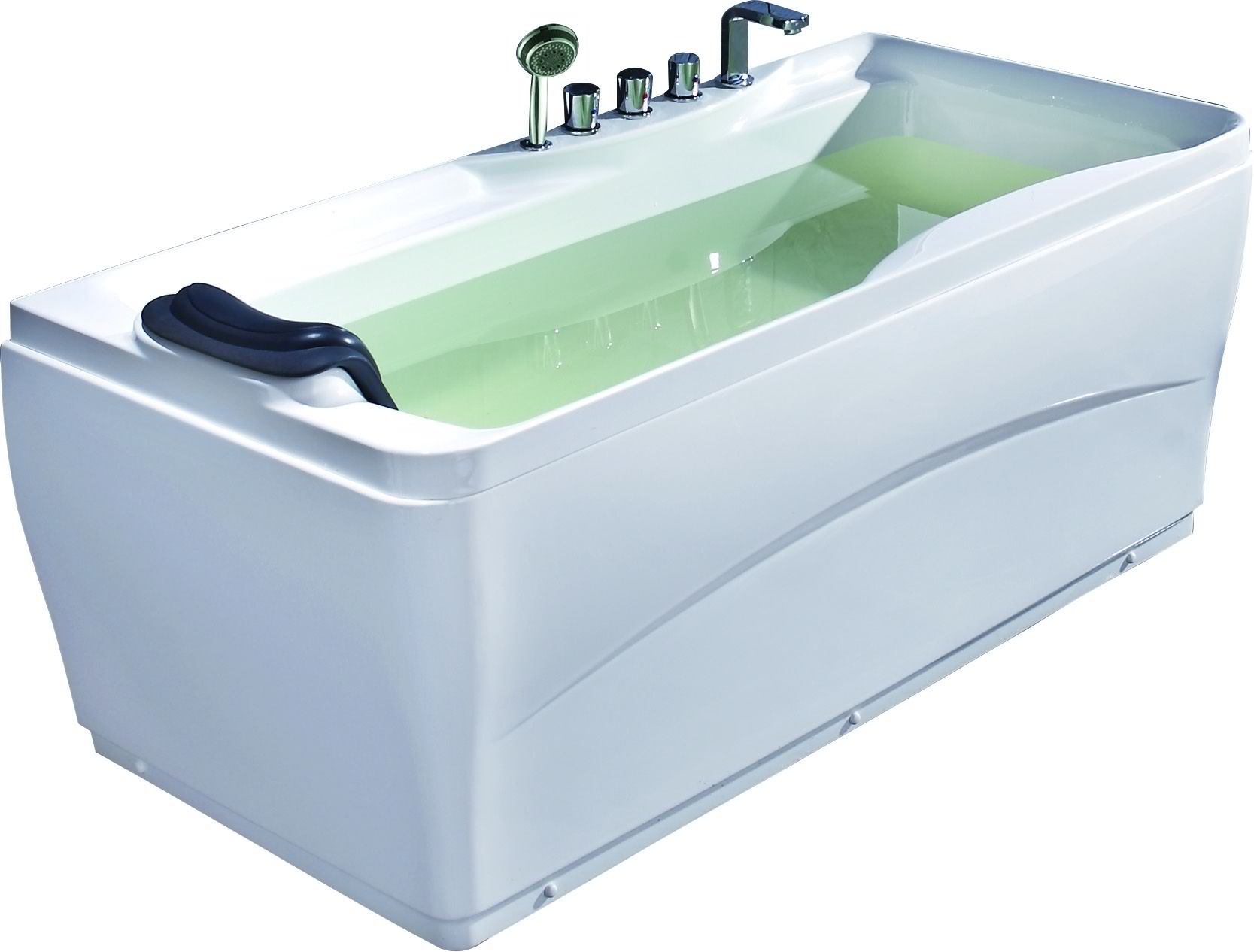 "EAGO LK1102 White Acrylic 63"" Soaking Tub with Fixtures Drain Placement Option"