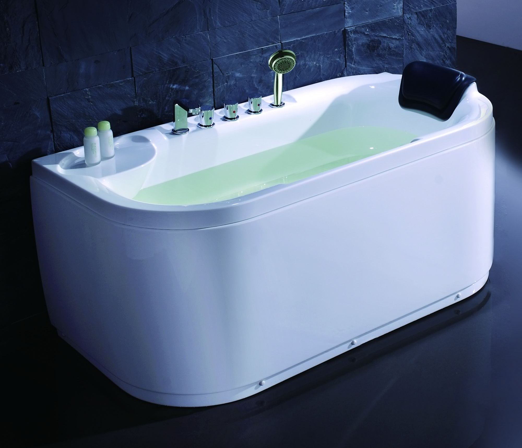 EAGO LK1103 White Acrylic 5' Soaking Tub with Fixtures Drain Placement Option
