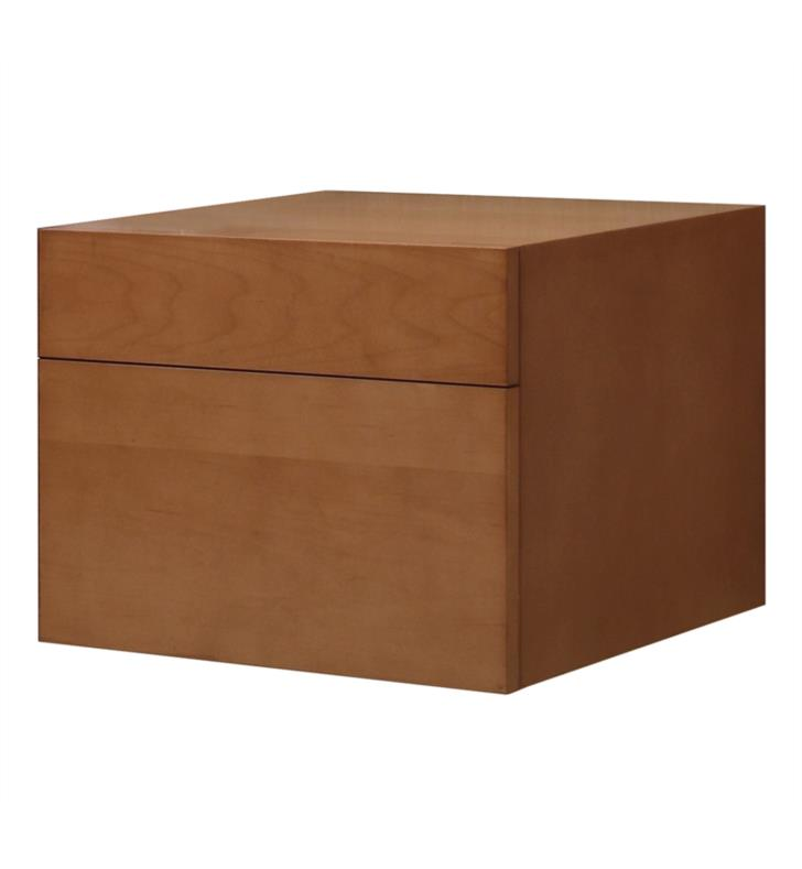 "Issac Edward Collections 23 5/8"" Wall Mounted Single Bathroom Vanity with Two Drawers in Natural Maple"